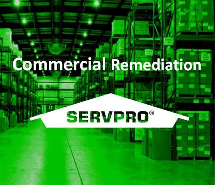 Image of a warehouse with SERVPRO Logo and text, Commercial Remediation